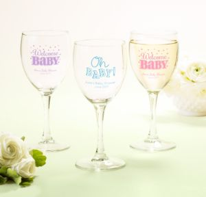 Personalized Baby Shower Wine Glasses (Printed Glass) (Black, Baby Brights)