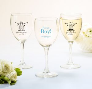 Personalized Baby Shower Wine Glasses (Printed Glass) (White, Shower Love Boy)