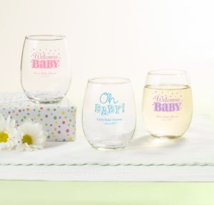 Personalized Baby Shower Stemless Wine Glasses 9oz (Printed Glass) (Black, Baby Brights)
