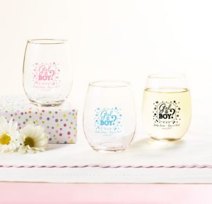 Personalized Baby Shower Stemless Wine Glasses 9oz (Printed Glass) (Black, Gender Reveal)