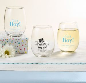 Personalized Baby Shower Stemless Wine Glasses 9oz (Printed Glass) (White, Welcome Boy)