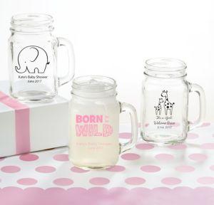 Personalized Baby Shower Mason Jar Mugs (Printed Glass) (Bright Pink, Pink Safari)
