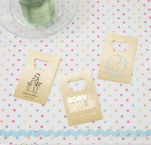 Personalized Baby Shower Credit Card Bottle Openers - Gold (Printed Metal) (Black, Blue Safari)