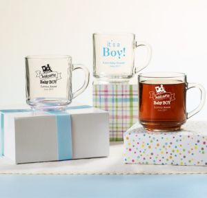Personalized Baby Shower Glass Coffee Mugs (Printed Glass) (Black, Welcome Boy)