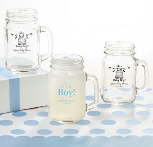 Personalized Baby Shower Mason Jar Mugs (Printed Glass) (Black, Shower Love Boy)