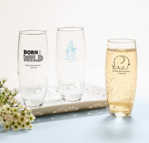 Personalized Baby Shower Stemless Champagne Flutes (Printed Glass) (Black, Blue Safari)