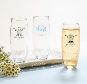 Personalized Baby Shower Stemless Champagne Flutes (Printed Glass) (Black, Shower Love Boy)