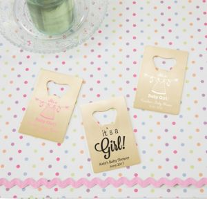 Personalized Baby Shower Credit Card Bottle Openers - Gold (Printed Metal) (Pink, Shower Love Girl)