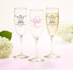 Personalized Baby Shower Champagne Flutes (Printed Glass) (Pink, Shower Love Girl)
