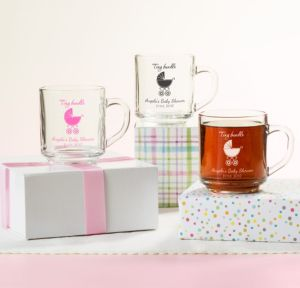 Personalized Baby Shower Glass Coffee Mugs (Printed Glass) (Pink, Tiny Bundle)