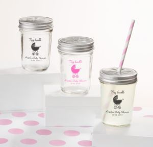 Personalized Baby Shower Mason Jars with Daisy Lids, Set of 12 (Printed Glass) (Pink, Tiny Bundle)