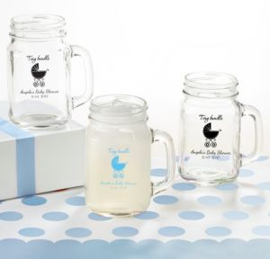 Personalized Baby Shower Mason Jar Mugs (Printed Glass) (Pink, Tiny Bundle)