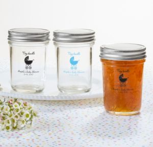 Personalized Baby Shower Mason Jars with Solid Lids (Printed Glass) (Pink, Tiny Bundle)