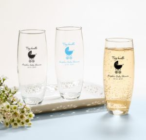 Personalized Baby Shower Stemless Champagne Flutes (Printed Glass) (Pink, Tiny Bundle)