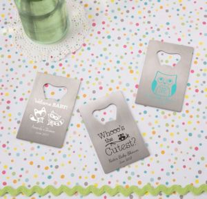 Personalized Baby Shower Credit Card Bottle Openers - Silver (Printed Metal) (Robin's Egg Blue, Woodland)