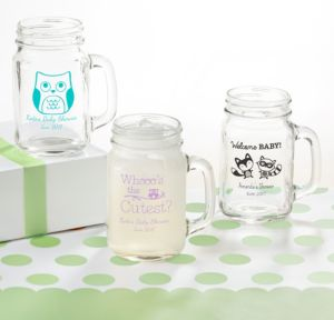 Personalized Baby Shower Mason Jar Mugs (Printed Glass) (Robin's Egg Blue, Woodland)