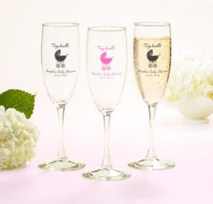 Personalized Baby Shower Champagne Flutes (Printed Glass) (Sky Blue, Tiny Bundle)