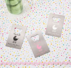 Personalized Baby Shower Credit Card Bottle Openers - Silver (Printed Metal) (White, Tiny Bundle)