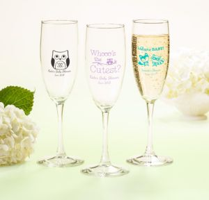Personalized Baby Shower Champagne Flutes (Printed Glass) (White, Woodland)