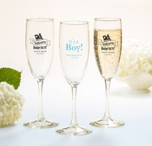 Personalized Baby Shower Champagne Flutes (Printed Glass) (White, Welcome Boy)