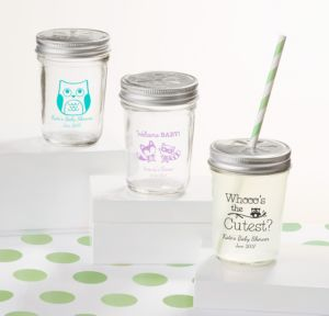 Personalized Baby Shower Mason Jars with Daisy Lids, Set of 12 (Printed Glass) (White, Woodland)