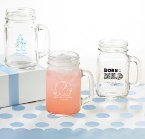 Personalized Baby Shower Mason Jar Mugs (Printed Glass) (White, Blue Safari)