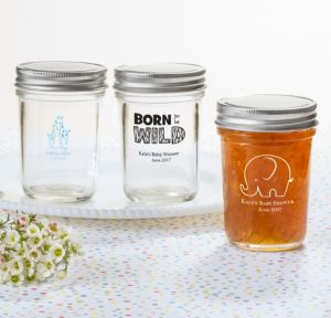 Personalized Baby Shower Mason Jars with Solid Lids (Printed Glass) (White, Blue Safari)
