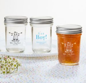 Personalized Baby Shower Mason Jars with Solid Lids (Printed Glass) (White, Shower Love Boy)