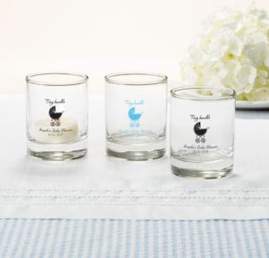 Personalized Baby Shower Shot Glasses (Printed Glass) (Bright Pink, Tiny Bundle)