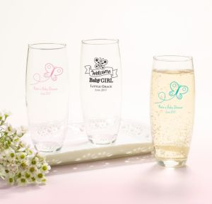 Personalized Baby Shower Stemless Champagne Flutes (Printed Glass) (White, Welcome Boy)