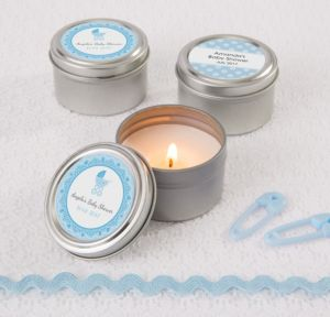 Personalized Baby Shower Wedding Candle Tins (Printed Label) (Celebrate Boy)