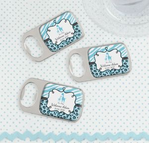Personalized Baby Shower Bottle Openers - Silver (Printed Epoxy Label) (Blue Safari)