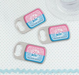 Personalized Baby Shower Bottle Openers - Silver (Printed Epoxy Label) (Gender Reveal)