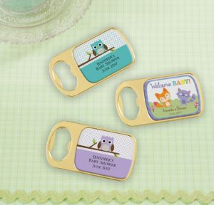 Personalized Baby Shower Bottle Openers - Gold (Printed Epoxy Label) (Gold, Woodland)