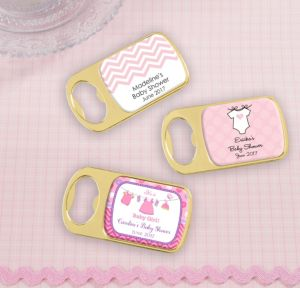 Personalized Baby Shower Bottle Openers - Gold (Printed Epoxy Label) (Gold, Shower Love Girl)