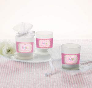 Personalized Baby Shower Glass Votive Candle Holders (Printed Label) (Welcome Girl)