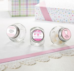 Personalized Baby Shower Small Glass Jars (Printed Label) (Shower Love Girl)