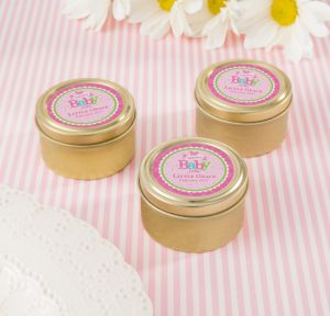 Personalized Baby Shower Round Candy Tins - Gold (Printed Label) (Gold, Welcome Girl)