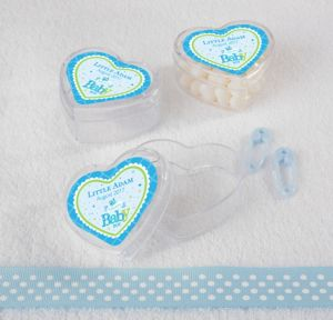 Personalized Baby Shower Heart-Shaped Plastic Favor Boxes, Set of 12 (Printed Label) (Welcome Boy)