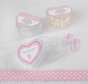 Personalized Baby Shower Heart-Shaped Plastic Favor Boxes, Set of 12 (Printed Label) (Celebrate Girl)