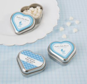 Personalized Baby Shower Heart-Shaped Mint Tins with Candy (Printed Label) (Silver, Celebrate Boy)
