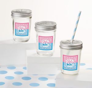 Personalized Baby Shower Mason Jars with Daisy Lids (Printed Label) (Gender Reveal)