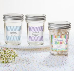Personalized Baby Shower Mason Jars with Solid Lids (Printed Label) (Baby Brights)