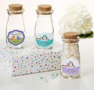 Personalized Baby Shower Glass Milk Bottles with Corks (Printed Label) (Woodland)