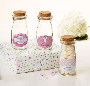 Personalized Baby Shower Glass Milk Bottles with Corks (Printed Label) (Shower Love Girl)
