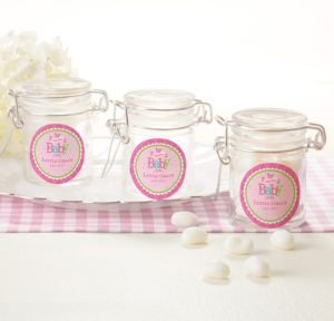 Personalized Baby Shower Glass Candy Jars (Printed Label) (Welcome Girl)