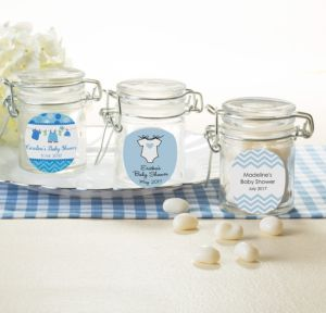 Personalized Baby Shower Glass Candy Jars (Printed Label) (Shower Love Boy)