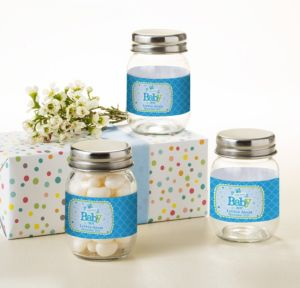 Personalized Baby Shower Mini Glass Mason Jars (Printed Label) (Welcome Boy)