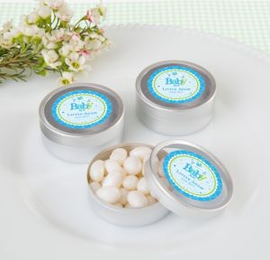 Personalized Baby Shower Round Candy Tins - Silver, Set of 12 (Printed Label) (Welcome Boy)