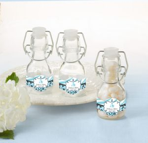Personalized Baby Shower Glass Swing Top Bottles (Printed Label) (Blue Safari)